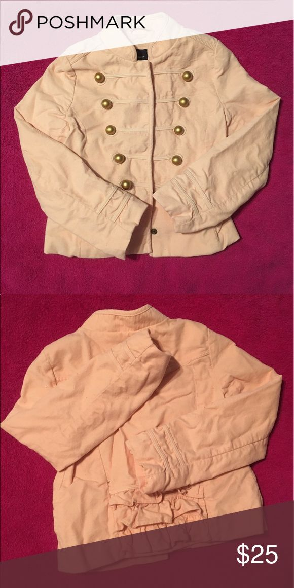 Adorable pink velvet GAP jacket Adorable pink velvet military style GAP jacket. Double breasted look with back ruffle detail. Size small (fits about a 6/8) GAP Jackets & Coats