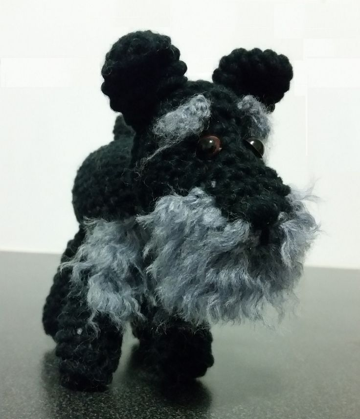 KaTerri Creations Schnauzer 14cm $25 Made with cotton blend yarn, plastic eyes and pellets, polyester toy filling.
