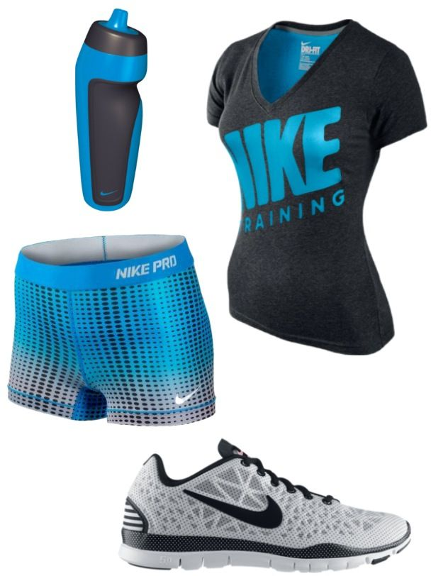 Nike. Need some blue and black work out clothes to look good in the gym :)
