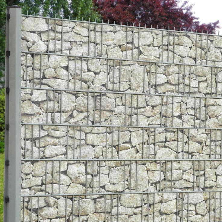 """Eine mediterrane Sandsteinmauer als Sichtschutz. Einfach in den Gittermattenzaun einflechten! Jetzt neu bei M-tec technology GmbH das PVC Motiv """"Toscana""""."""