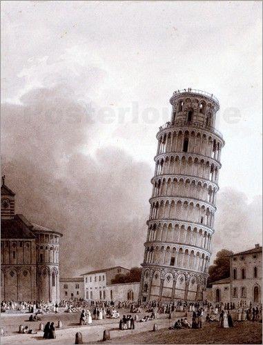 Jean Baptiste Isabey - Der schiefe Turm von Pisa. 1822