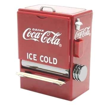 "HTD Canada Coke Vending Machine Toothpick Dispenser Looks like an old Coca-Cola vending machine. Made of hard plastic and polished chrome. Measures 4 1/8"" x 3 1/2"" x 2 1/2"". Holds over 200 toothpicks which are included"