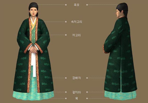 Goryeo Dynasty(AD918-1392) Korean traditional clothes #hanbok 조반부인 초상화 근거 귀부인 복식 - 문화콘텐츠닷컴