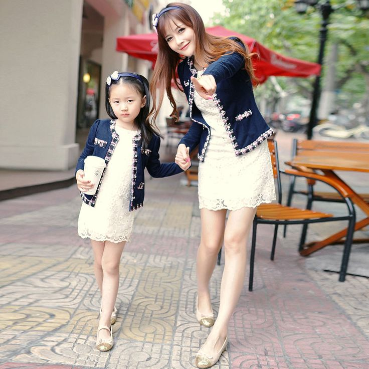 2014 autumn and winter elegant laciness o-neck puff sleeve coat family fashion clothes for mother and daughter US $22.00 - 28.00
