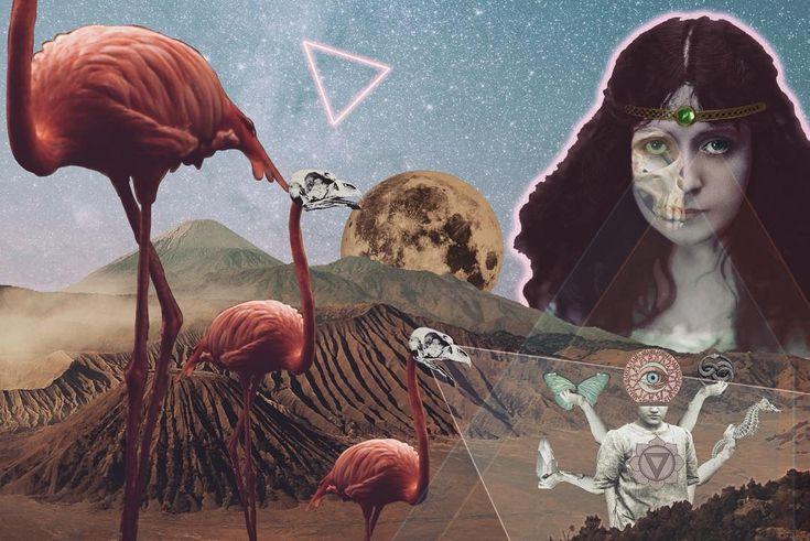 👁🐍🌕🦋  .  ... abrazados sueño y tiempo,  cruza el gemido del niño,  la lengua rota del viejo.  .    #lorca .  .  .  .  .  #collage #flamingo #fullmoon #nitdebruixes #nochedemuertos #todoslossantos #skull #triangle #neon #brujeria #witchcraft #halloween #desert #volcano #sky #crystal #magic #neverending #seahorse #skeleton #ps_fantasy #creativecloud_lookup #cuchifritacollage