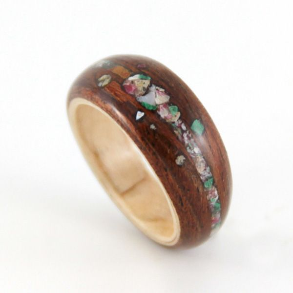 Unique Crushed Stone and Wood Engagement Ring