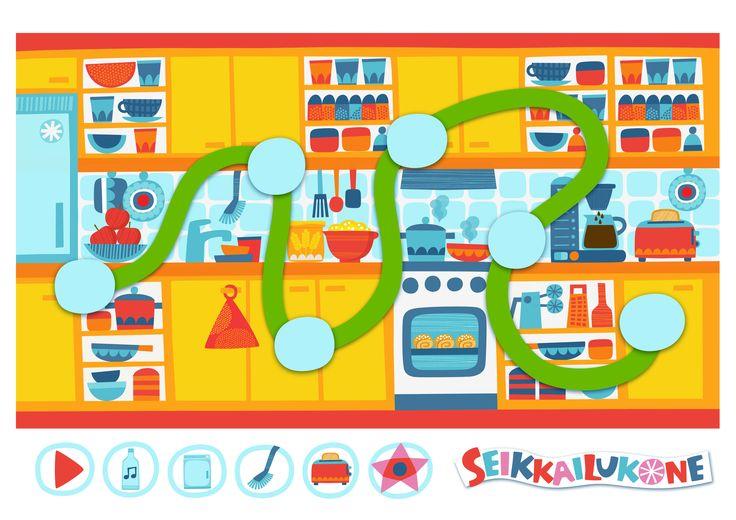 Seikkailukone | tulostettava | paperi | kartta | peli | tehtävä |  keittiö | lapset | game | map | children | kids | free printable | Pikku Kakkonen
