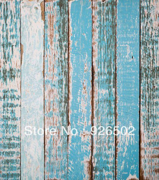 5x7ft Винтаж ярко-синий деревенский шик дерева фотография ребенка ArtFabric доски фон Д-606