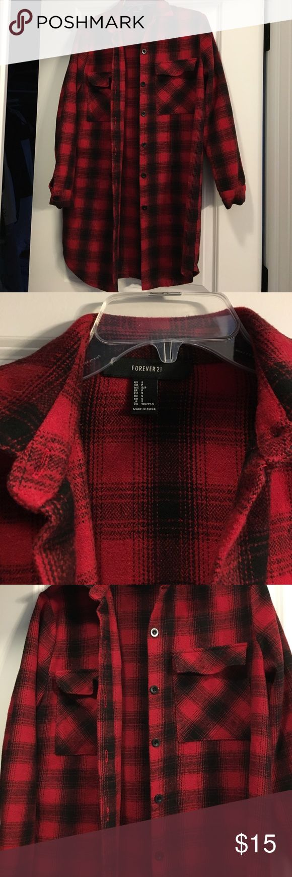 Forever 21 thick flannel shirt dress size S Forever 21 thick flannel shirt dress size S in excellent condition. No signs of wear, no stains or any kind of damage. It's a thicker flannel material, great for colder days. Forever 21 Dresses Mini