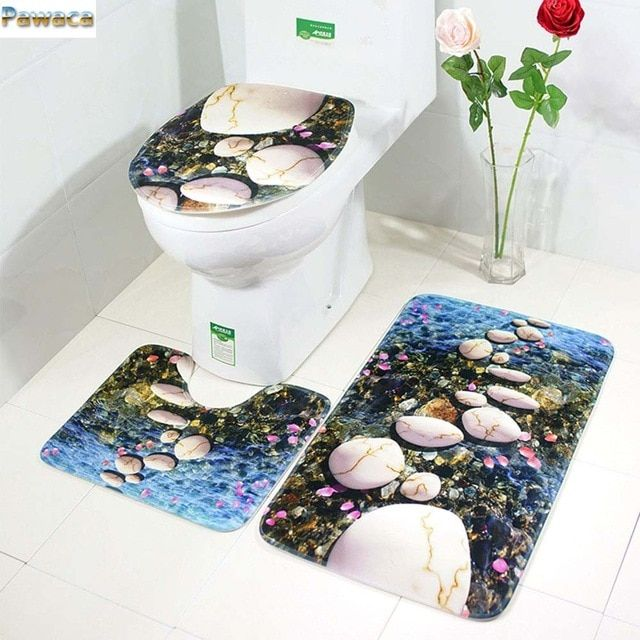 The 3 Sets Bathroom Carpet Mat And Toilet Seat Cover With Starry