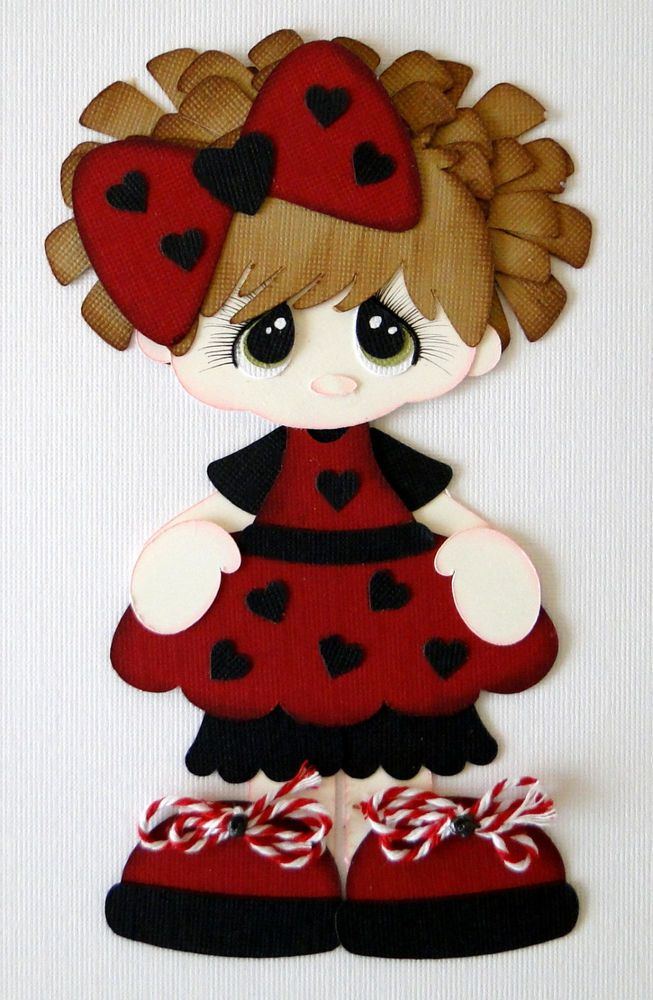 Little Lady Bug Girl Paper Piecing PreMade 4 Borders Scrapbook Albums