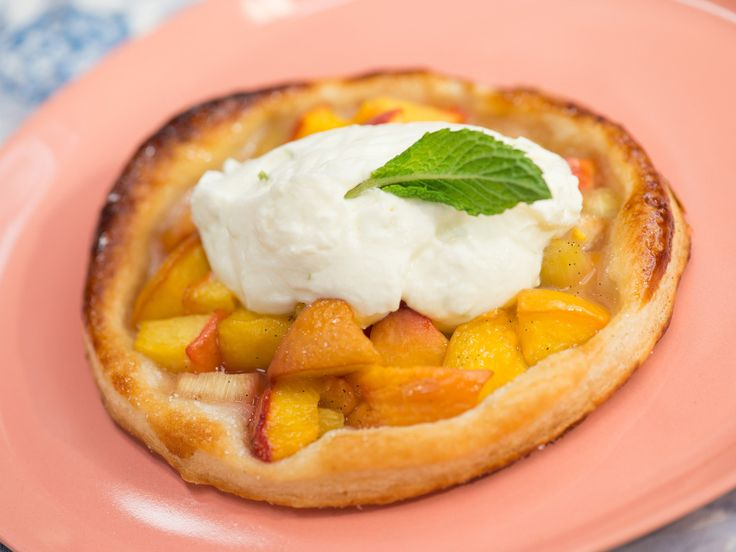 Summer Peach and Rhubarb Crostata recipe from Geoffrey Zakarian via Food Network