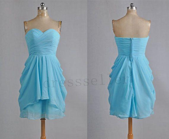 Short Blue Chiffon Bridesmaid Dress Simple Design