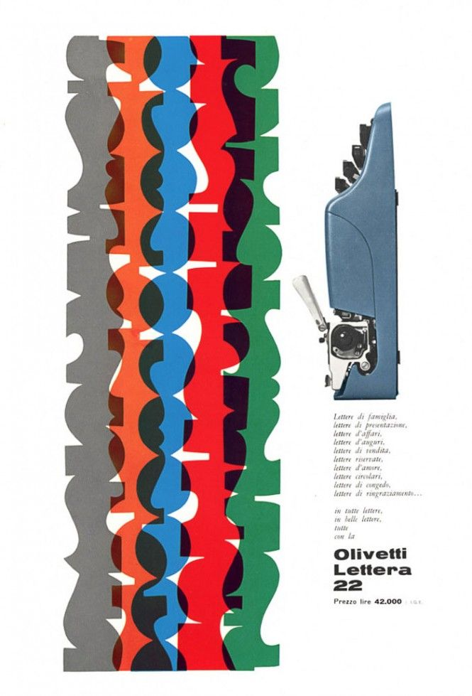 Giovanni Pintori, advertising artwork for the portable typewriter Lettera 22, 1950s. For Olivetti, Italy. Source