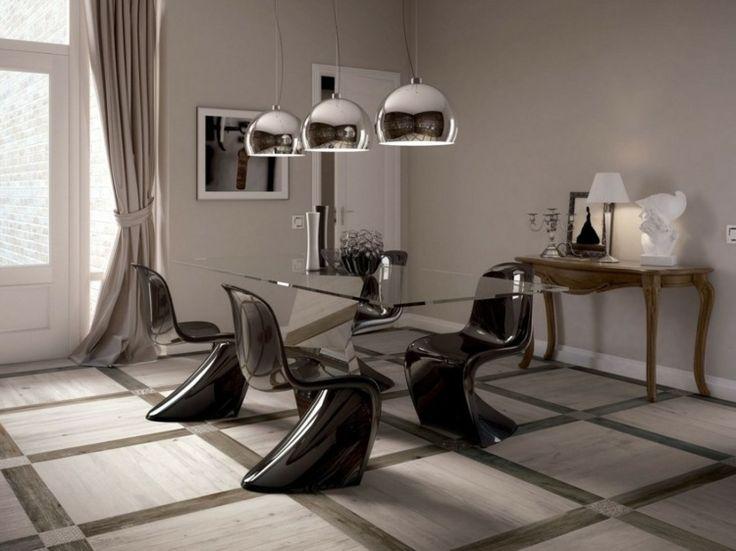 salle manger contemporaine murs gris taupe table design en verre et chaises plastiques - Salle A Manger Gris Taupe