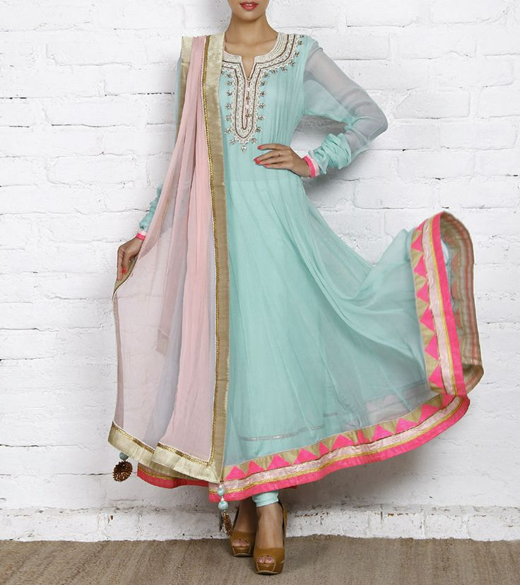 Aqua Embroidered Chiffon Anarkali Suit