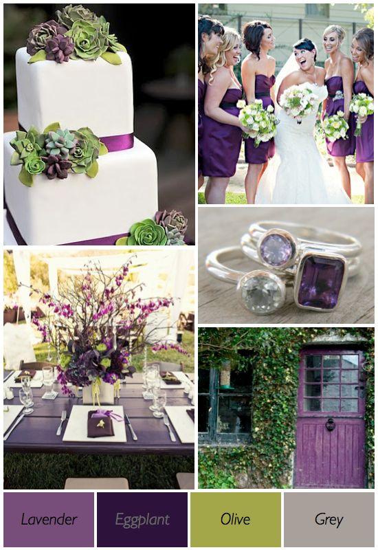 Green purple grey wedding colour scheme