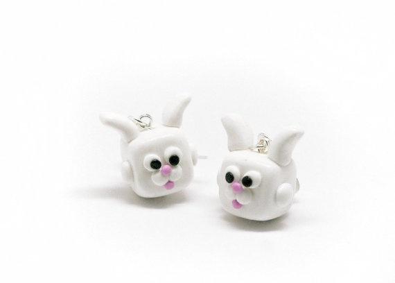 Polymer clay white kawaii cube bunny rabbit earrings by Fracmatic, $19.00