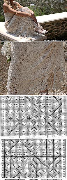 Ажурное платье спицами по шотландским мотивам | Своими руками