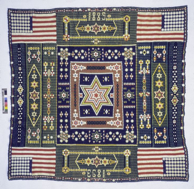 Jewett Washington Curtis, a career soldier in the late 19th century pieced this wool bedcover, likely while in the hospital while recovering from rheumatism. Needlework was encouraged in the military as an activity for either relieving boredom in lonely postings or as part of physical therapy during hospital stays.
