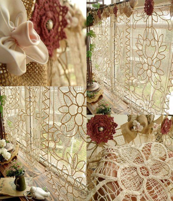 Vintage Lace Valance Burlap Curtain Shabby Cottage Chic Cream Rosette One  Panel