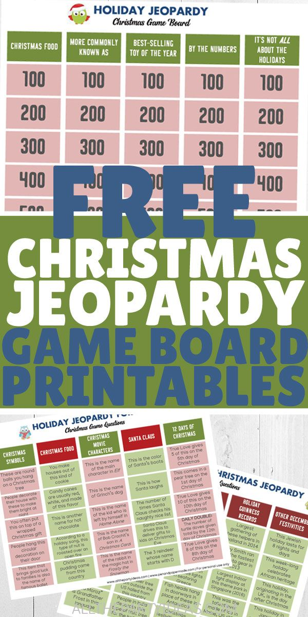 4 FUN Christmas Jeopardy Game Boards FREE Printables (With images) | Christmas jeopardy ...