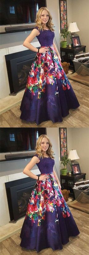 modest long prom party dresses, floral formal evening gowns, fashion grape prom gowns with floral appliques.