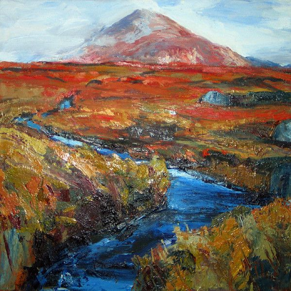 Contemporary Fine Art from the Outer Hebrides.   'Mealaisbhal Winter' oil painting by Scottish artist Derek Scanlan.