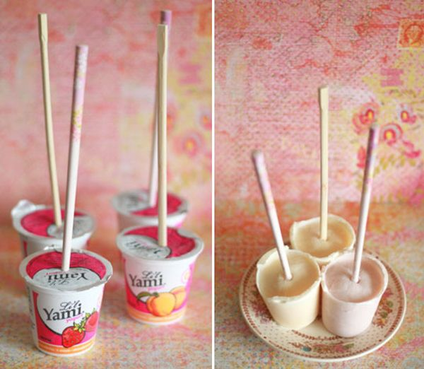 FroYo Pops. Great for a cooling snack this summer. To minimize trash: Just pour yoghurt into silicone moulds and use (re-usable plastic) spoons instead of wooden sticks.