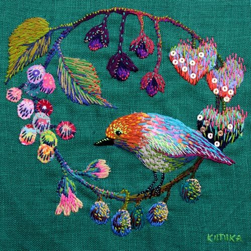 Kimikahara -- fruit and bird.  What scrumptious color!  Freeform, colorful