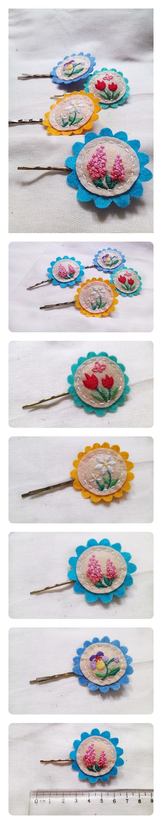 Embroidered #felt hair clips