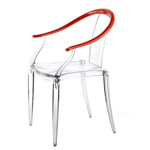 Inspired by the classical Quanyi ('horseshoe' chair) characteristic of China's Ming Dynasty Period (1368 AD - 1644 AD), the stackable Mi Ming Armchair combines the modern transparency of polycarbonate with the lightness of gas-assisted injection-molding technology. The
