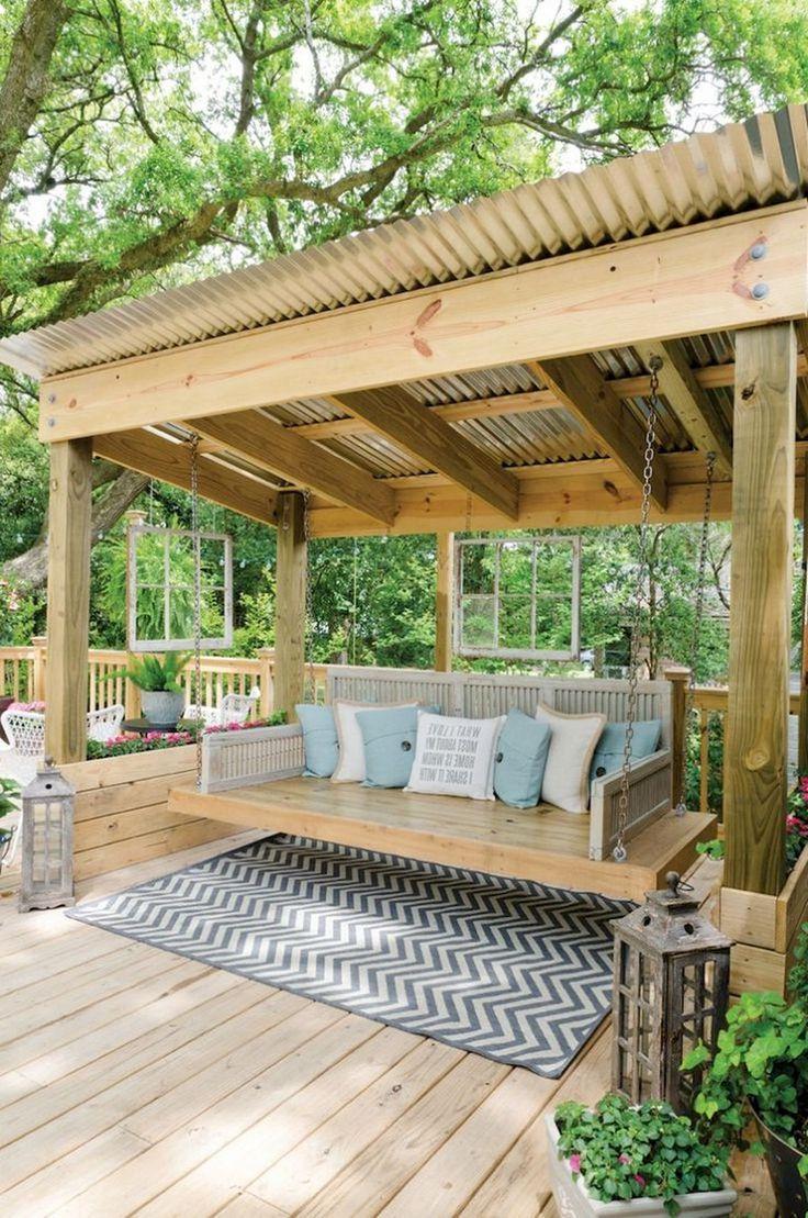 30 Comfy Backyard Bench Seating Area Design Landscaping Ideas Patio Garten Hinterhof Uberdachung Garten