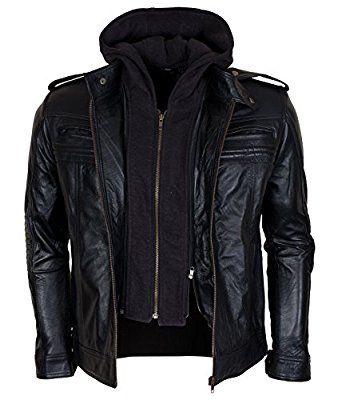 TNA Aj Style Men Black Hooded Genuine Leather Jacket