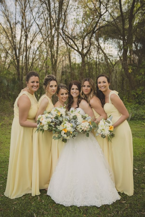 Bridal Party Wedding Portrait with Yellow Bill Levkoff Bridesmaids Dresses and Ivory, Strapless Allure Lace Wedding Dress | Alisa Sue Photography on @marrymetampabay via @aislesociety