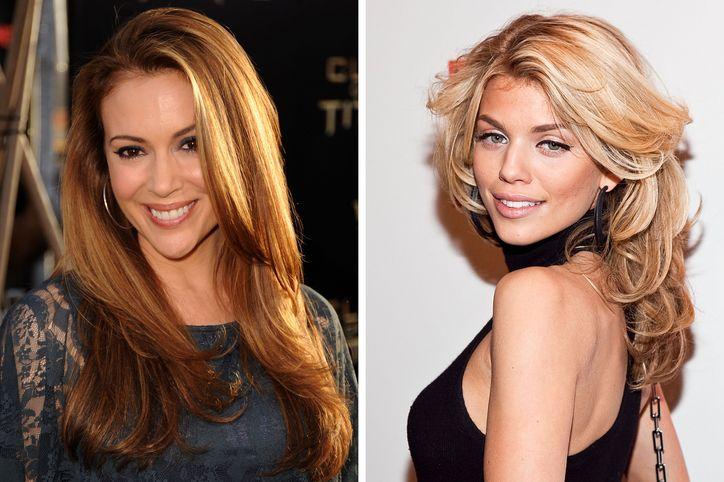 alyssa milano and annalynne mccord long layered haircut | Glamour
