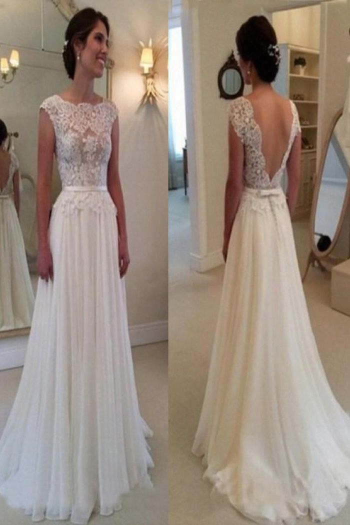 Elegant Cowl Backless Long Chiffon Wedding Dress With Lace Top