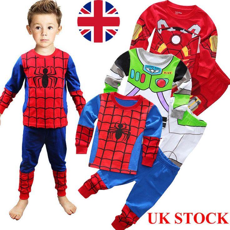 Spiderman 2pcs kids #toddler boys cartoon #pyjamas set pjs #nightwear sleepwear,  View more on the LINK: http://www.zeppy.io/product/gb/2/391661634260/