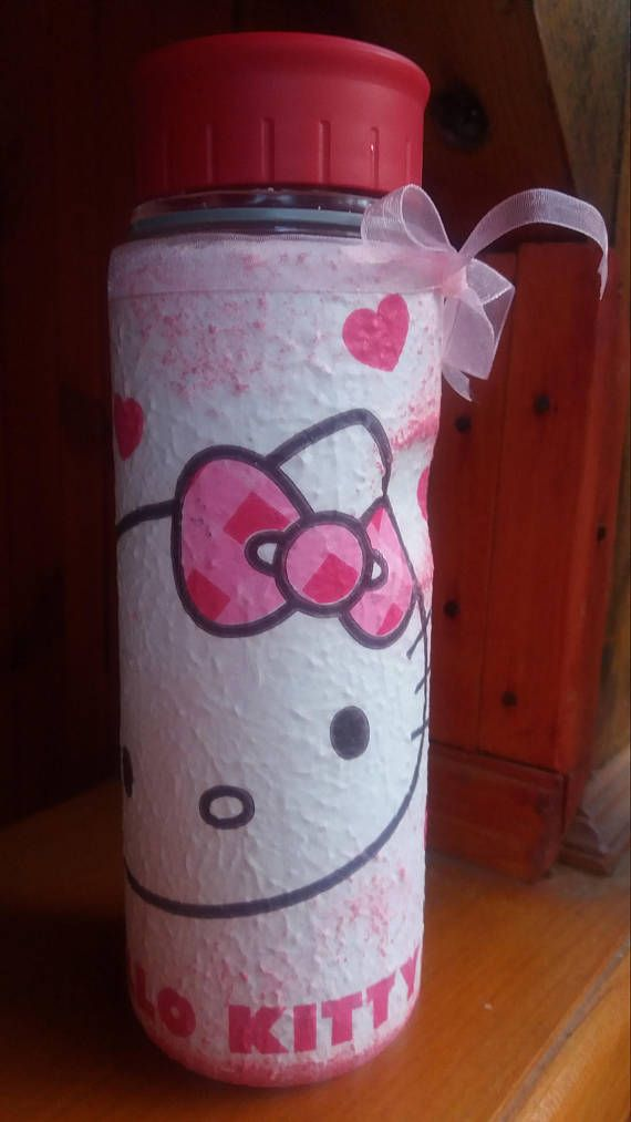 Hello Kitty decor decoupage plastic flask for child fans