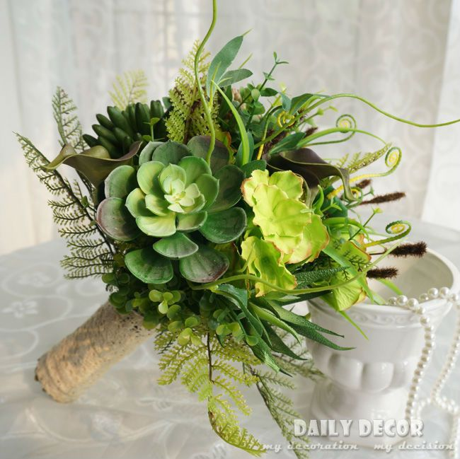 New ! custom artificial succulent plants wedding / bridal / bride bouquet natural artificial flowers bouquet with meaty plants