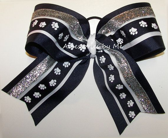 Paw Print Big Cheer Bow Navy Blue White Silver by accessoriesbyme