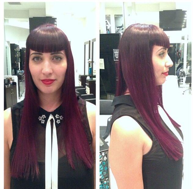 Betty Bangs, magenta / purple ombré and long layers (Rockabilly twist) by Jamie @ Carlton Hair Brea Mall (714)256-9760