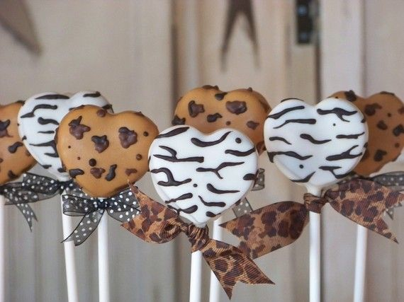 Leopard and Zebra Print Heart Shaped Cake Pops