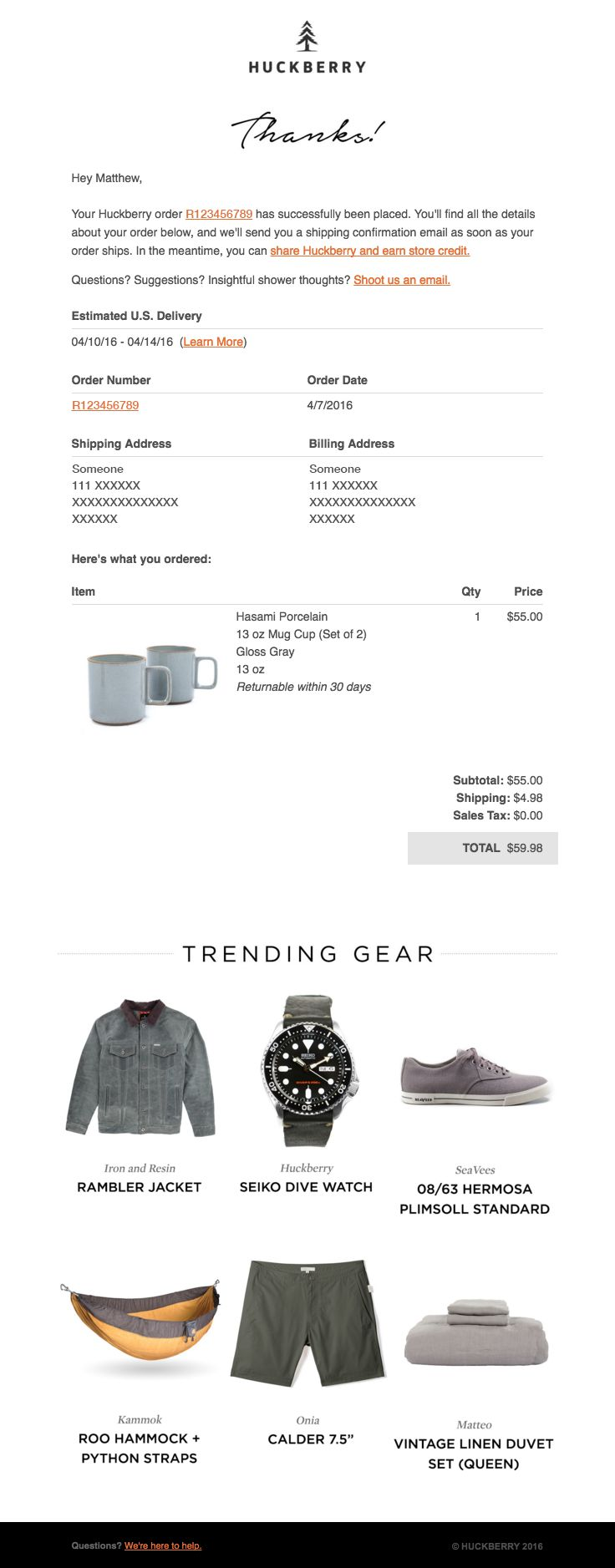 Huckberry sent this email with the subject line: Your Huckberry Order R123456789 – Details Inside - Read about this email and find more transactional emails at ReallyGoodEmails.com #ecommerce #receipt #transactional