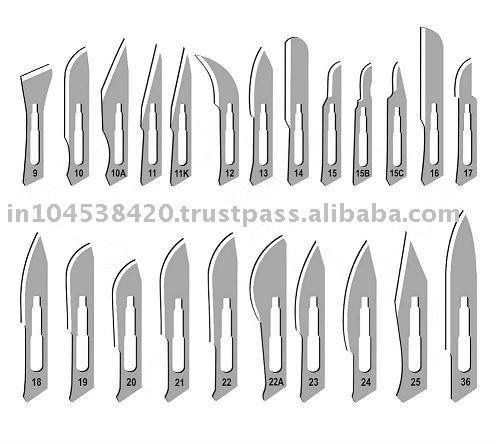 Operating Room: Surgical Blades.       Most used #s 10, 11, 15 and occasionally 12:
