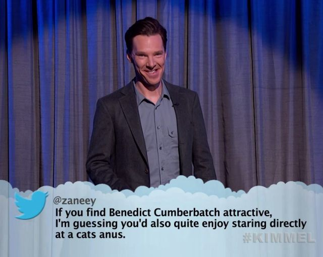 "20 of The Best of Jimmy Kimmel's ""Celebrities Reading Mean Tweets"": Benedict Cumberbatch"