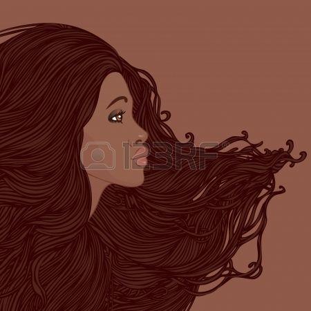 Güzel uzun saçlı Vektör resimde oldukça genç Afrikalı Amerikalı kadın Güzellik Salonu Seti Profili photo