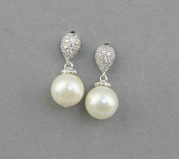 Bridal Pearl Earrings, Crystal Swarovski Earrings, Weddings Jewelry, Ivory Pearl Earrings, Bridesmaids Earrings - Style 520