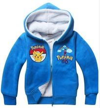 Pokemon Pikachu suit children autumn winter hoodie, thickening of the warm hoodie zipper jacket can do child do Christmas gifts(China (Mainland))