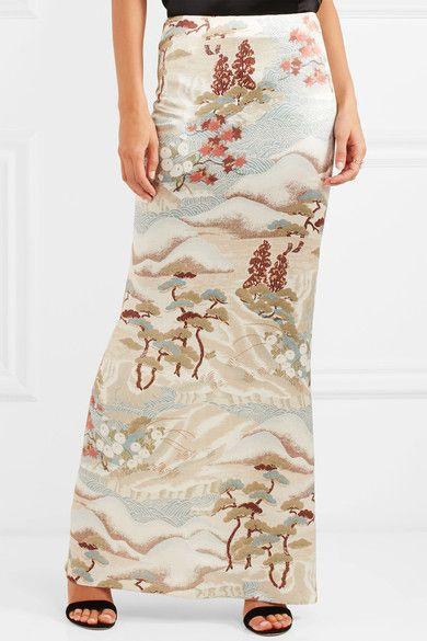 Giorgio Armani - Printed Silk-blend Satin Maxi Skirt - Beige